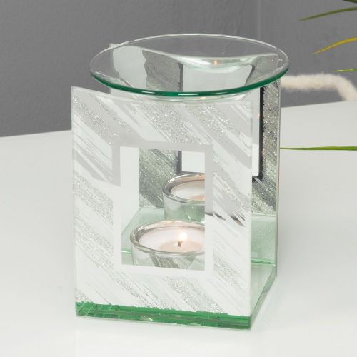 Mirror Glitter Oil Burner - Contemporary White and Silver Melt Burner Home Ornament